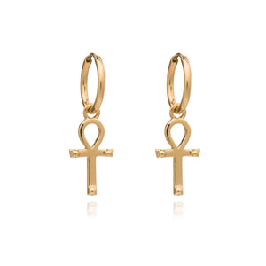 Key of Life Mini Hoop Earrings - Gold