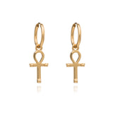 Key of Life Ankh Egyptian Hoop Earrings Gold Rachel Jackson London