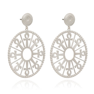 Key of Life Medallion Earrings - Silver