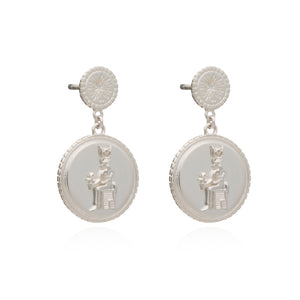 Queen of Revelry Coin Earrings - Silver