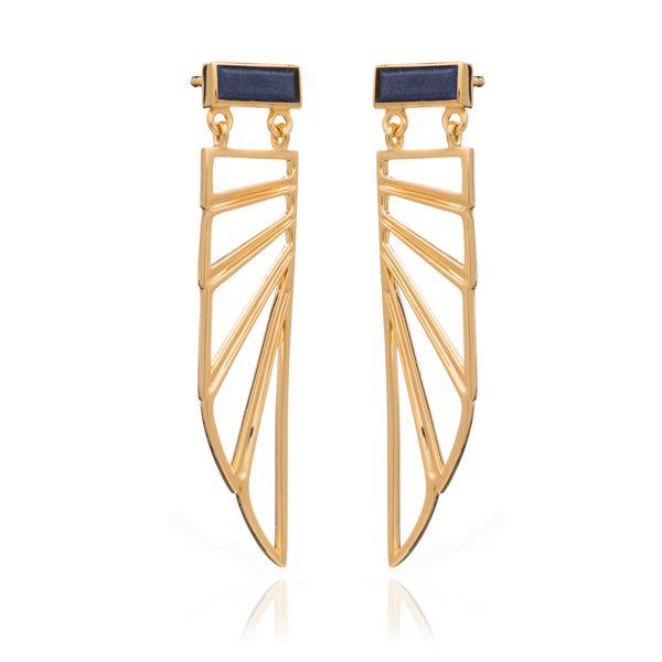 Egyptian Goddess Wing gold earrings lapis lazuli Rachel Jackson London