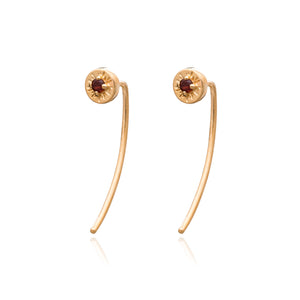 Sunburst Birthstone Spike Earrings - Gold