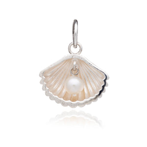 Shell Charm With Pearl - Silver