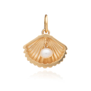 Shell Charm With Pearl - Gold
