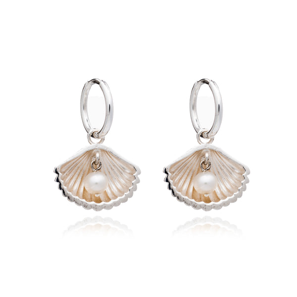Shell Charm With Pearl Huggies - Silver