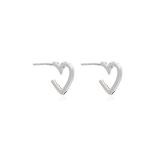 Mini Heart Hoop Earrings - Silver