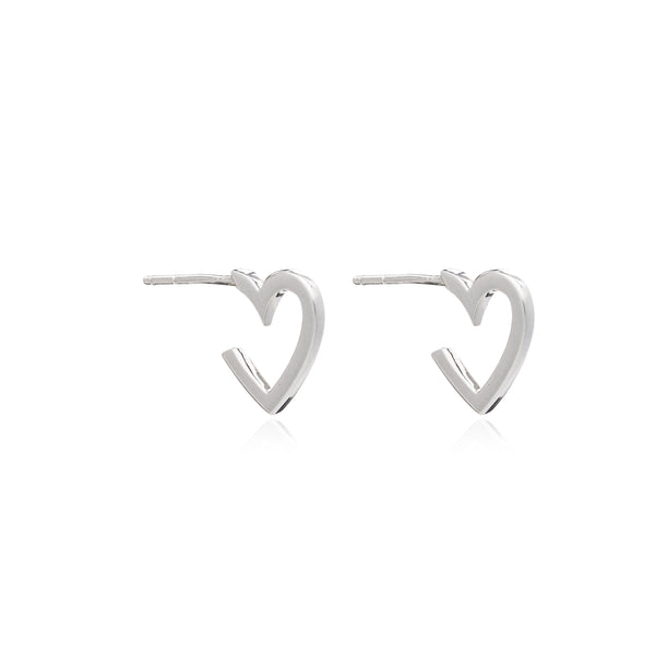 Mother of Daughters Mini Silver Heart Hoops Rachel Jackson London