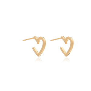 Mini Heart Hoop Earrings - Gold