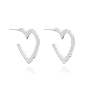 Medium Heart Hoops - Silver