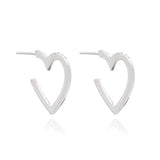 Mother of Daughters Medium Silver Heart Hoops Rachel Jackson London