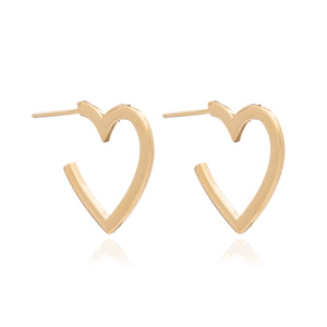 Medium Heart Hoops - Gold