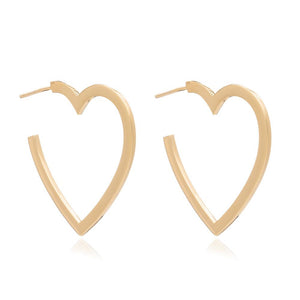 Large Heart Hoop Earrings - Gold