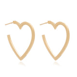 Large Heart Hoops - Gold