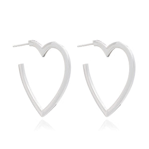 Large Heart Hoops - Silver
