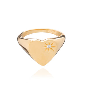 Statement Diamond Heart Signet Ring - Gold Vermeil