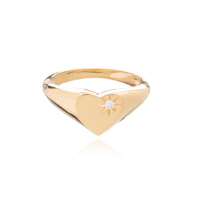 Diamond Heart Signet Ring - Gold Vermeil