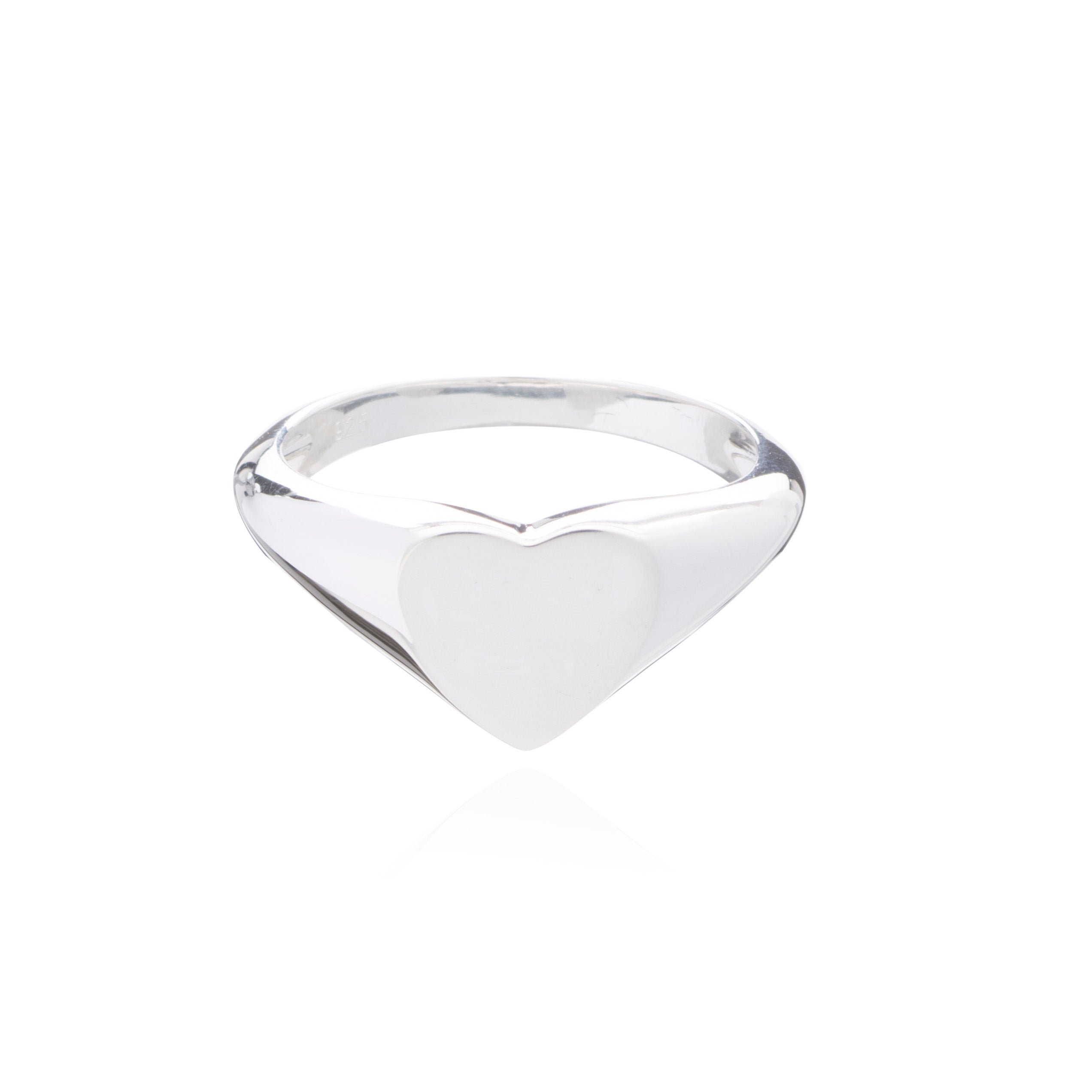 Heart Signet Pinky Ring - Silver