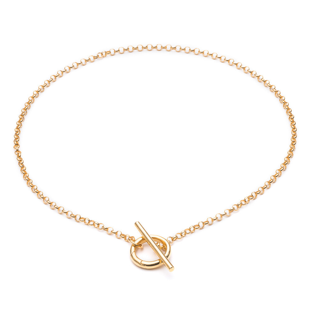 Statement Belcher Necklace with T-bar - Gold