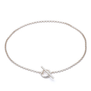 Statement Belcher Necklace with T-bar - Silver