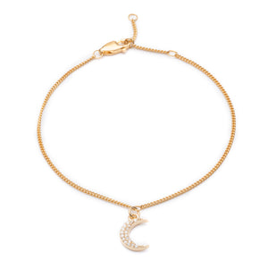 Moon Charm Chain Bracelet - Gold