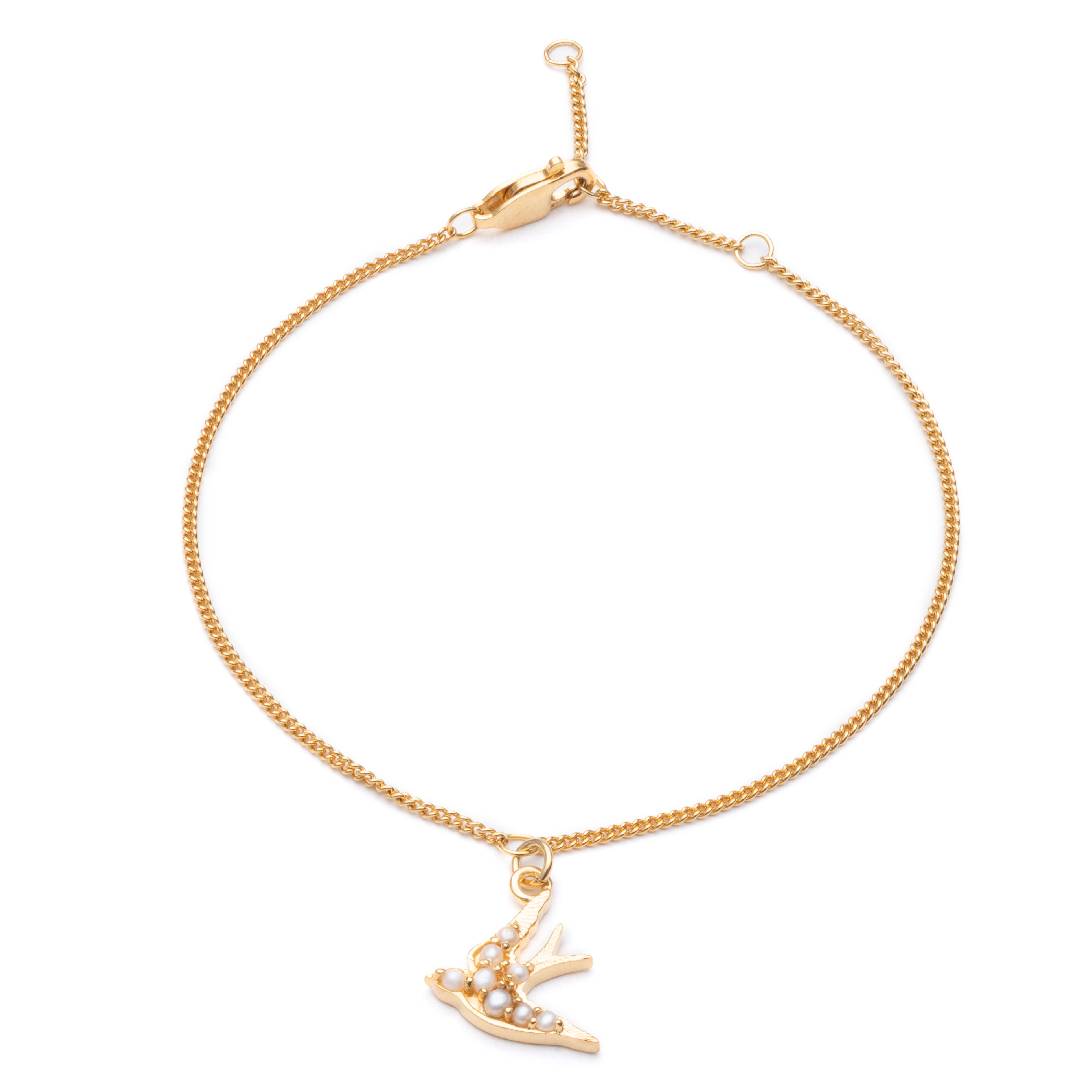 Mother of Daughters swallow charm chain bracelet gold Rachel Jackson London