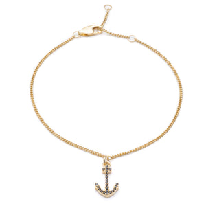 Anchor Charm Chain Bracelet - Gold