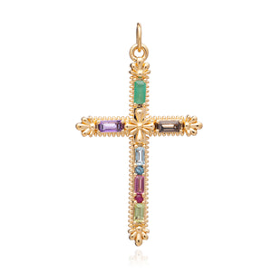 Gemstone Statement Cross - Gold