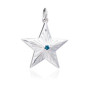 Blue Topaz Statement Lucky Star Charm - Silver