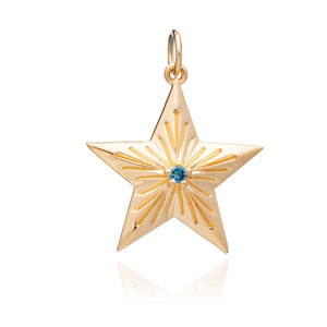 Blue Topaz Statement Lucky Star Charm - Gold