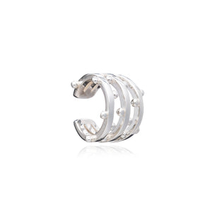 Statement Punk Earring Cuff - Silver