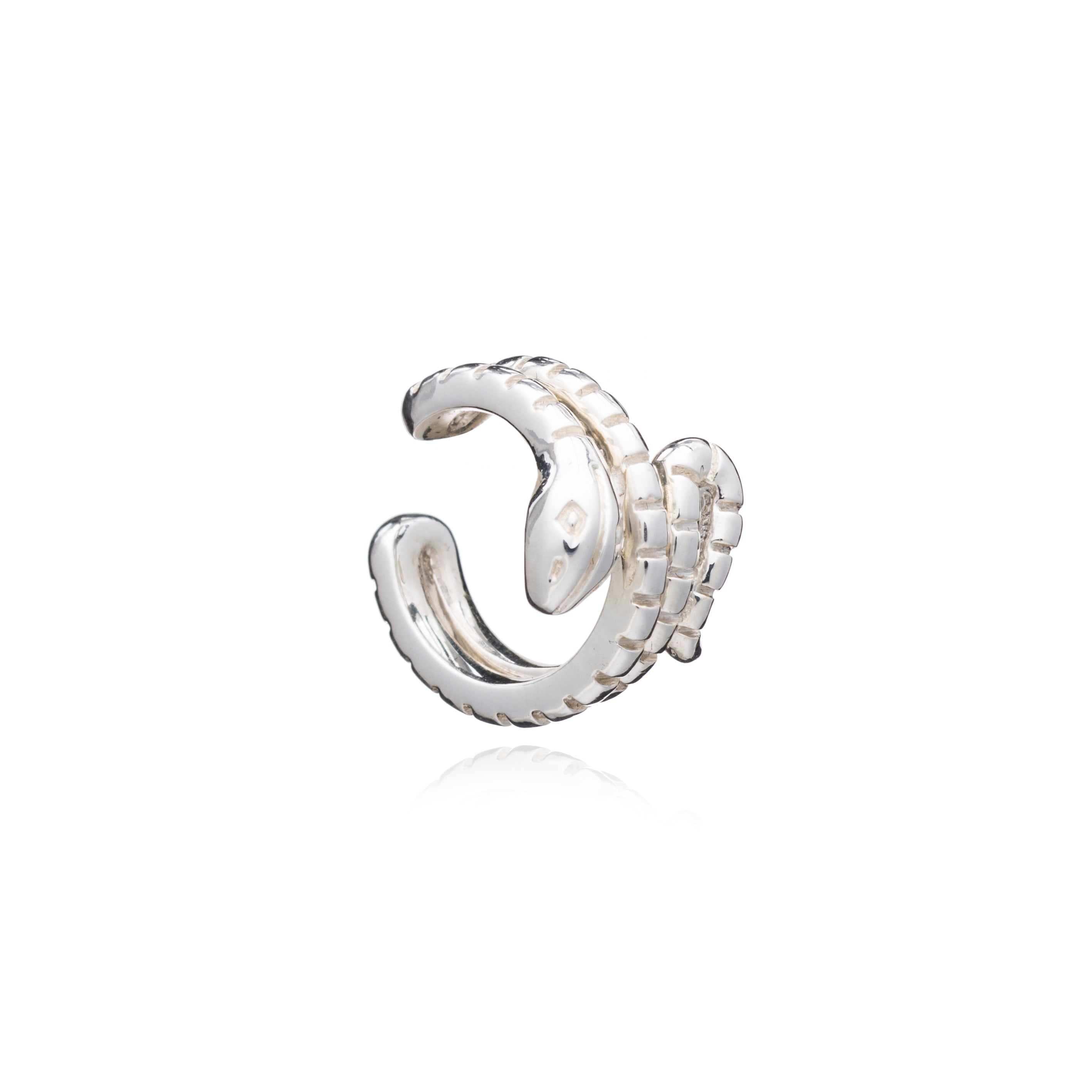 Statement Snake Ear Cuff - Silver