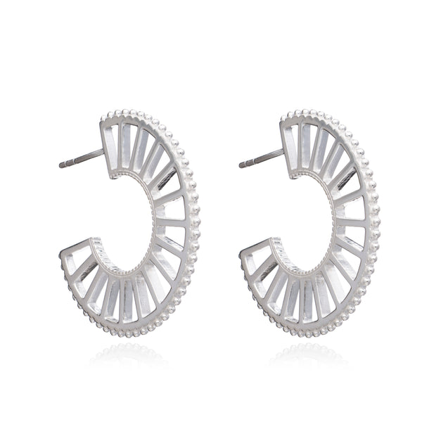Queen of Revelry Statement Hoops - Silver