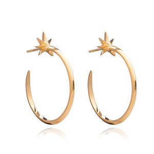 Large Shooting Star Hoop Earrings - Gold
