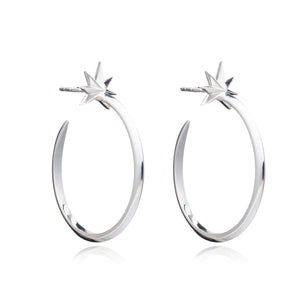 Large Shooting Star Hoop Earrings - Silver