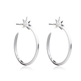 Large Shooting Star Hoops - Silver