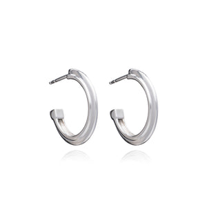 Art Deco Stepped Hoops - Silver