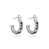 Statement Gemstone Hoop Earrings - Silver