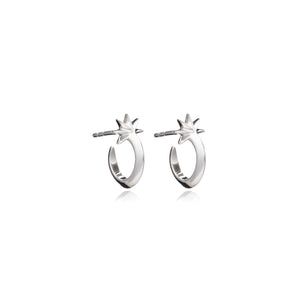 Mini Shooting Star Hoop Earrings - Silver