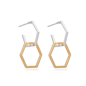 Mixed Metal Statement Infinity Hexagon Hoops