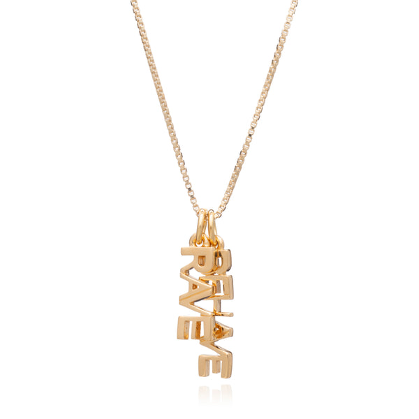 """Rave / Behave"" Charm Necklace - Gold"