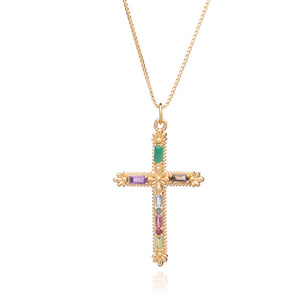 Gemstone Statement Cross Necklace - Gold