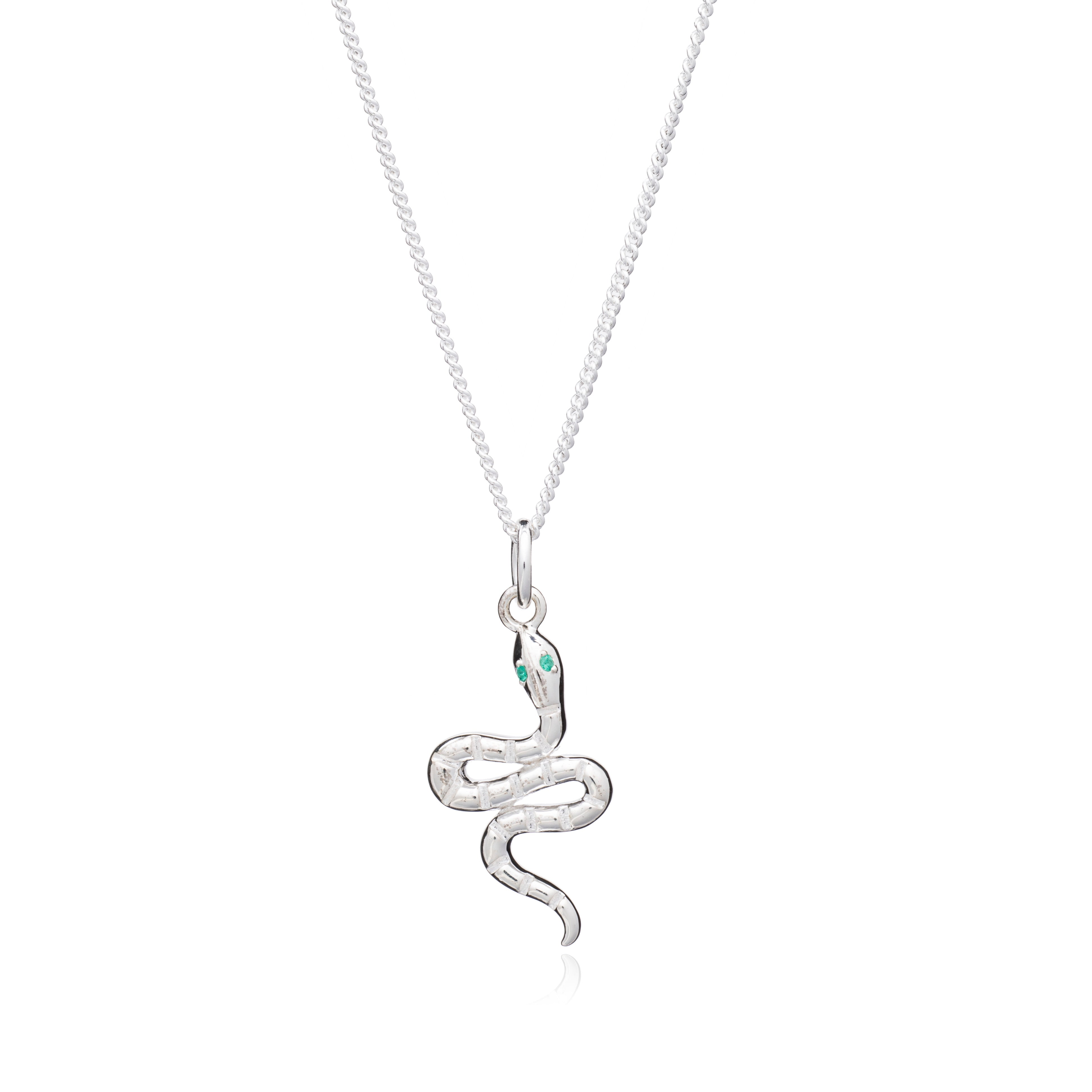 """Transform"" Emerald Snake Necklace - Silver"