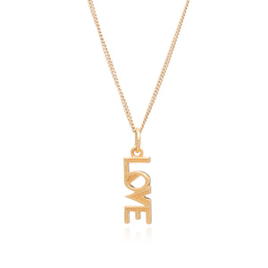 Art Deco Love Charm Necklace - Gold