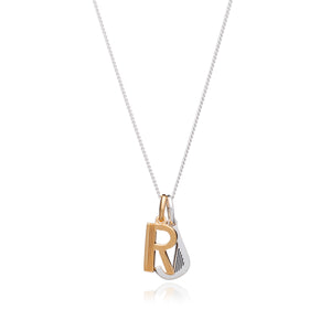Mixed Metal Art Deco Initial Necklace