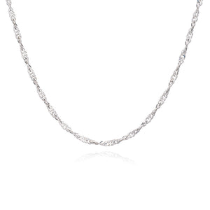 Mid-length Sparkle Twist Chain Necklace - Silver