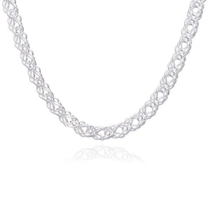 Choker Style Statement Chevron Necklace - Silver