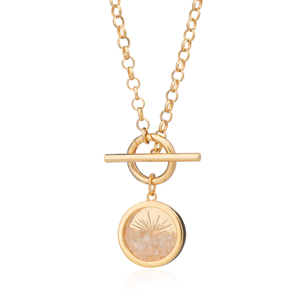 Sunburst Amulet Charm T-bar Necklace - Gold
