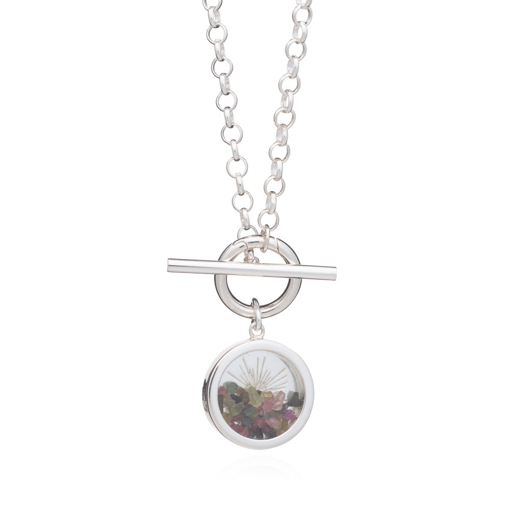 Sunburst Amulet Charm T-bar Necklace - Silver