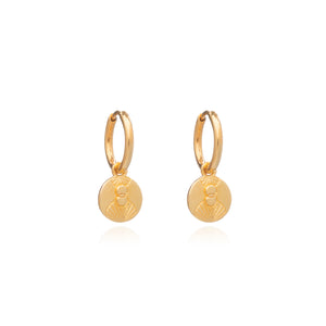 Luminary Art Coin Huggie Hoop Earrings - Gold