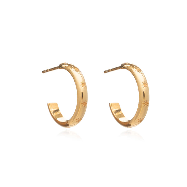 Star Studded Medium Hoops - Gold